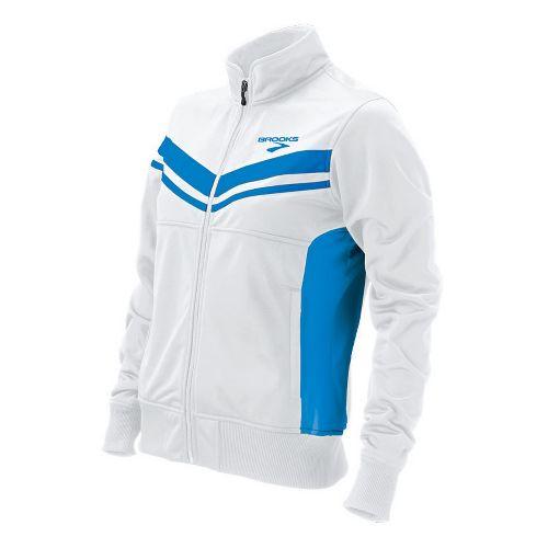 Womens Brooks ID Elite Running Jackets - White/Brooks Blue M