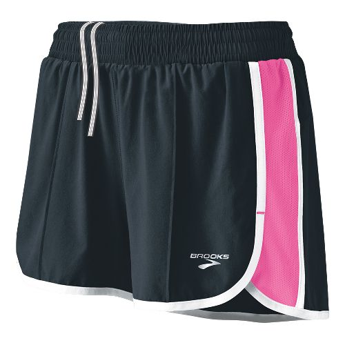 Womens Brooks Epiphany Stretch II Lined Shorts - Anthracite/Brite Pink XL