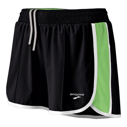 Womens Brooks Epiphany Stretch II Lined Shorts - Black/Brite Green L