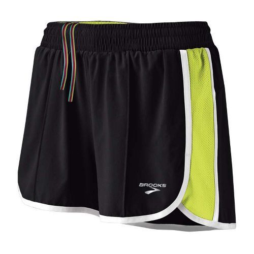 Womens Brooks Epiphany Stretch II Lined Shorts - Black/Citron M