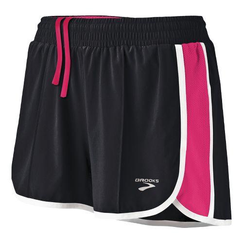Womens Brooks Epiphany Stretch II Lined Shorts - Black/Pomegranate L