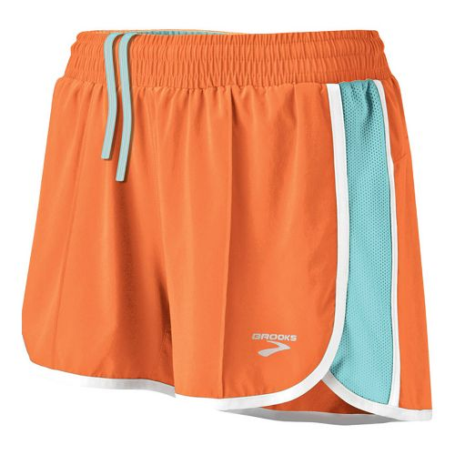 Womens Brooks Epiphany Stretch II Lined Shorts - Carrot/Tropic S