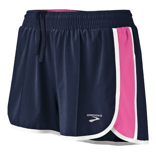 Womens Brooks Epiphany Stretch II Lined Shorts - Midnight/Brite Pink L