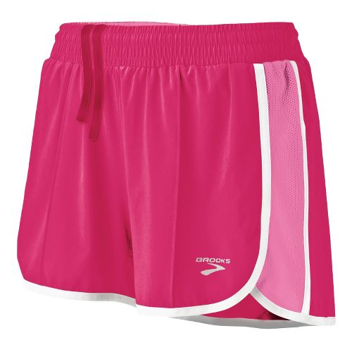 Womens Brooks Epiphany Stretch II Lined Shorts - Pomegranate/Brite Pink M
