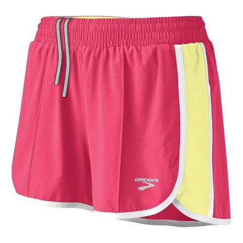 Womens Brooks Epiphany Stretch II Lined Shorts - Rouge/Citrus L
