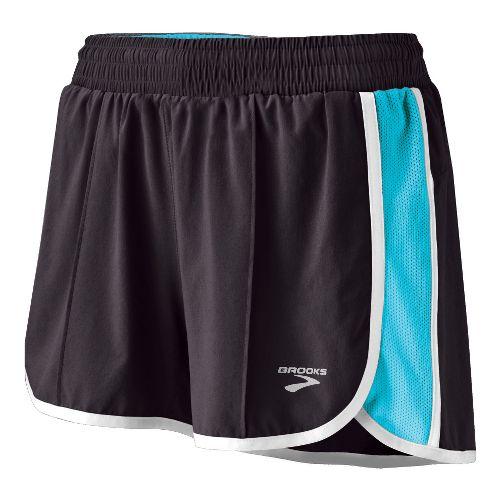Womens Brooks Epiphany Stretch II Lined Shorts - Shadow/Aqua Diva Print L
