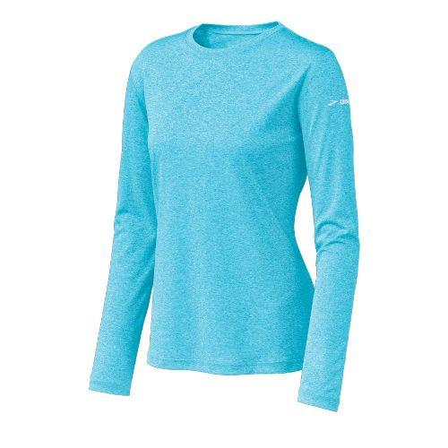 Womens Brooks EZ T Long Sleeve No Zip Technical Tops - Aqua M