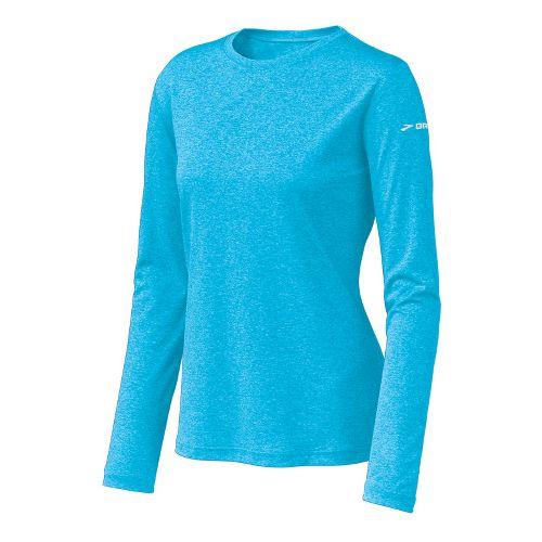 Womens Brooks EZ T Long Sleeve No Zip Technical Tops - Aquarius XS