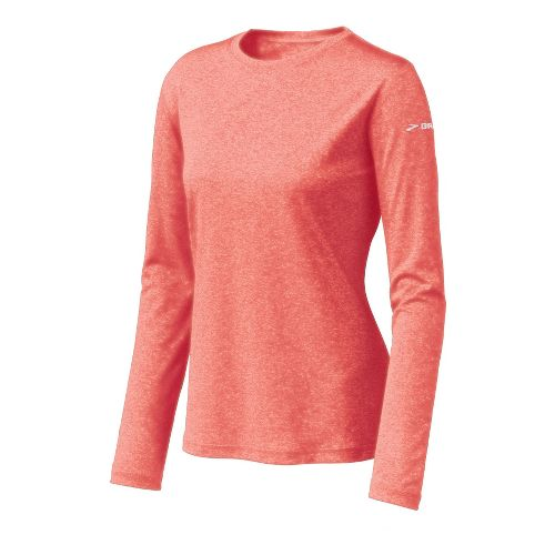 Womens Brooks EZ T Long Sleeve No Zip Technical Tops - Coral/White S