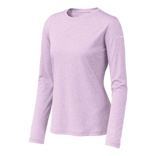 Womens Brooks EZ T Long Sleeve No Zip Technical Tops - Heather/Orchid Ice XS