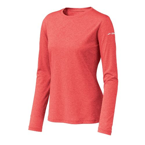 Womens Brooks EZ T Long Sleeve No Zip Technical Tops - Heather/Winter Poppy M