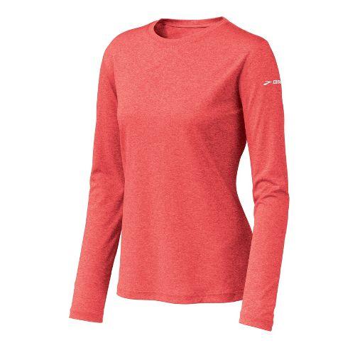 Womens Brooks EZ T Long Sleeve No Zip Technical Tops - Heather/Winter Poppy S