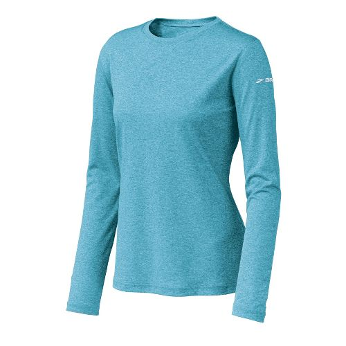 Womens Brooks EZ T Long Sleeve No Zip Technical Tops - Heather Glacial Water M ...