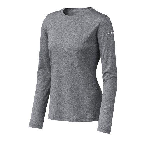 Womens Brooks EZ T Long Sleeve No Zip Technical Tops - Heather Grey XS