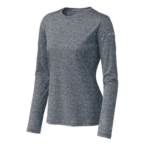 Womens Brooks EZ T Long Sleeve No Zip Technical Tops - Midnight XS