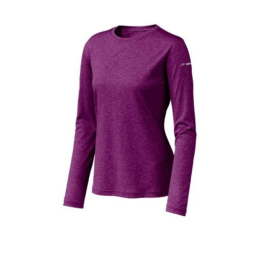 Womens Brooks EZ T Long Sleeve No Zip Technical Tops - Plum XS
