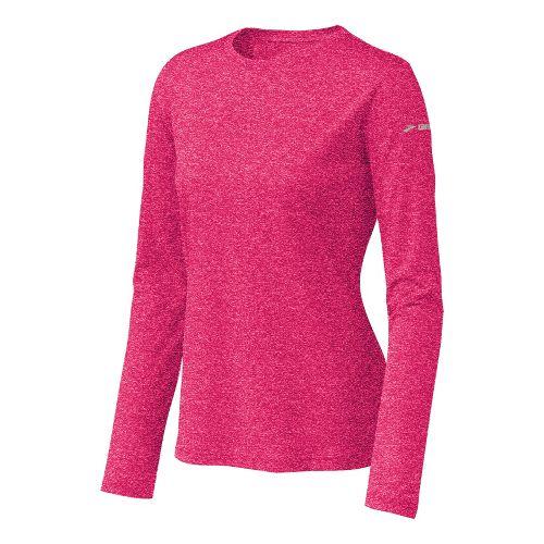 Womens Brooks EZ T Long Sleeve No Zip Technical Tops - Pomegranate XS