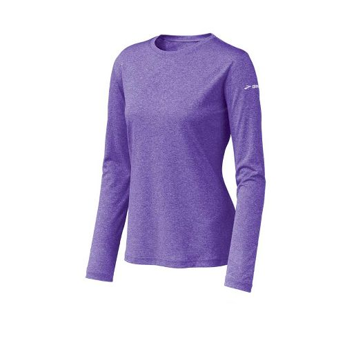 Womens Brooks EZ T Long Sleeve No Zip Technical Tops - Royal Purple S