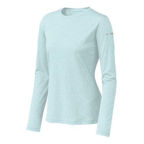 Womens Brooks EZ T Long Sleeve No Zip Technical Tops - Sea Foam S
