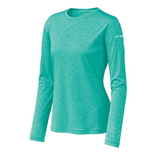 Womens Brooks EZ T Long Sleeve No Zip Technical Tops - Turquoise L