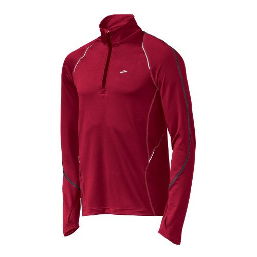 Mens Brooks Infiniti Long Sleeve 1/2 Zip Technical Tops - Rio Red S