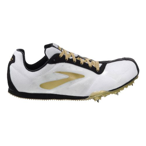 Mens Brooks PR LD Track and Field Shoe - White/Gold 7.5