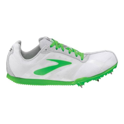 Womens Brooks PR LD Track and Field Shoe - White/Neon Green 11.5