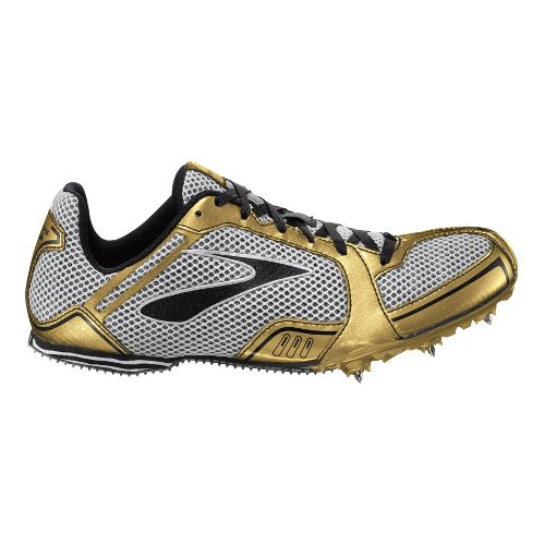 Mens Brooks PR MD Track and Field Shoe - Gold/Silver 10.5