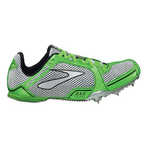Womens Brooks PR MD Track and Field Shoe - Neon Green/Silver 10.5