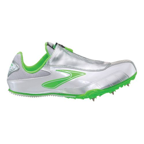 Womens Brooks PR Sprint Track and Field Shoe - Neon Green/Silver 9.5