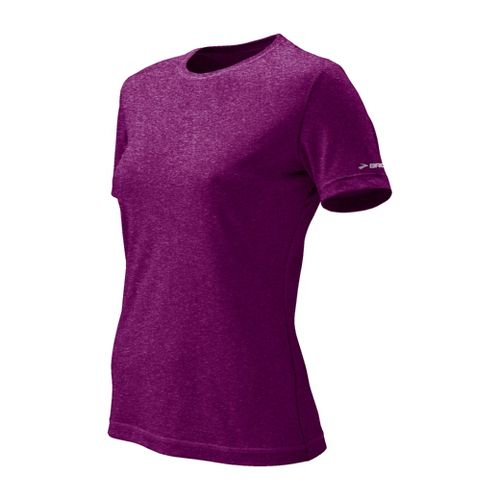 Womens Brooks EZ T II Short Sleeve Technical Tops - Plum XS