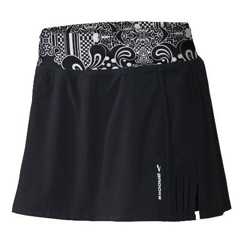 Womens Brooks Glycerin Skort Fitness Skirts - Black/White Diva Print M