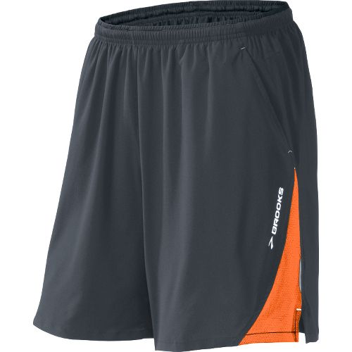 Mens Brooks Rogue Runner III Lined Shorts - Anthracite/Brite Orange L