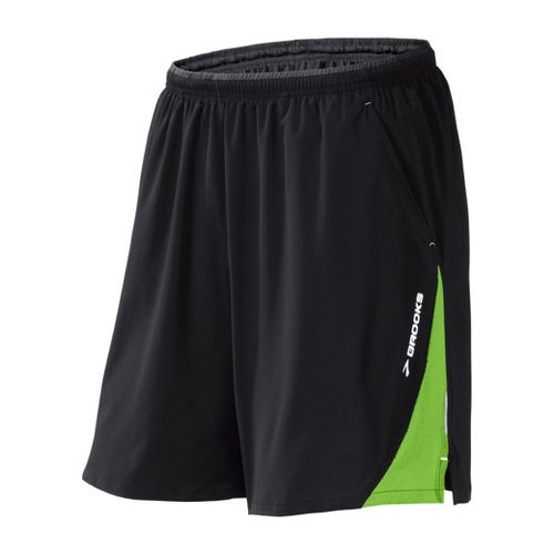 Mens Brooks Rogue Runner III Lined Shorts - Black/Brite Green S