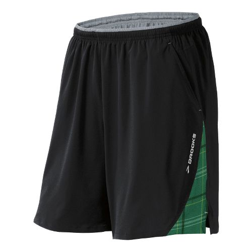 Mens Brooks Rogue Runner III Lined Shorts - Black/Envy Plaid Print S