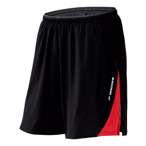 Mens Brooks Rogue Runner III Lined Shorts - Black/Power Red L