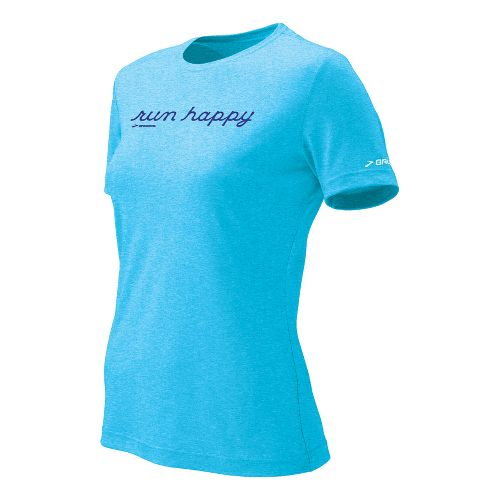 Womens Brooks EZ T Run Happy Short Sleeve Technical Tops - Aquarius M