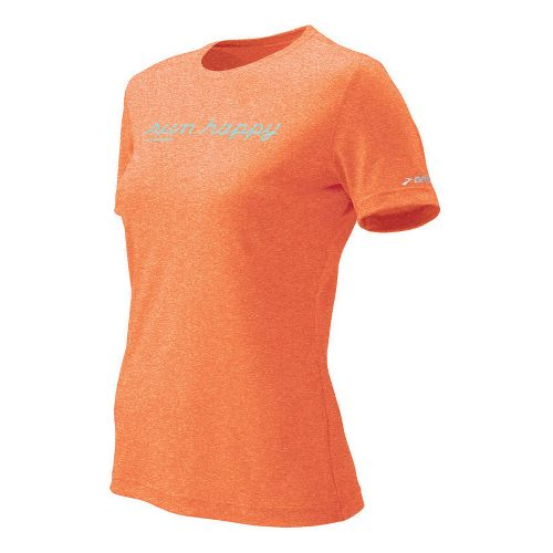 Womens Brooks EZ T Run Happy Short Sleeve Technical Tops - Caribe M