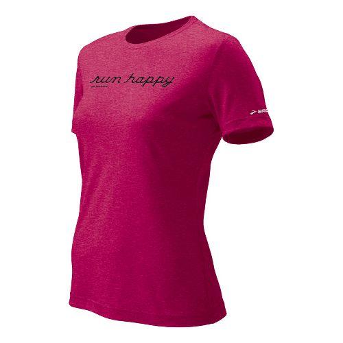 Womens Brooks EZ T Run Happy Short Sleeve Technical Tops - Cerise S