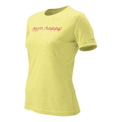 Womens Brooks EZ T Run Happy Short Sleeve Technical Tops - Citrus XL