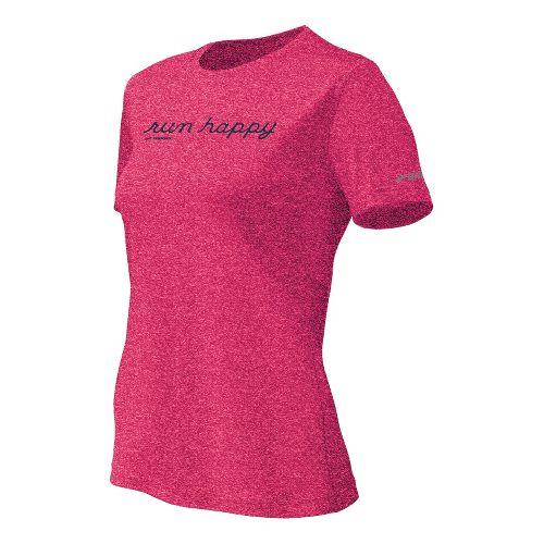 Womens Brooks EZ T Run Happy Short Sleeve Technical Tops - Pomegranate XL