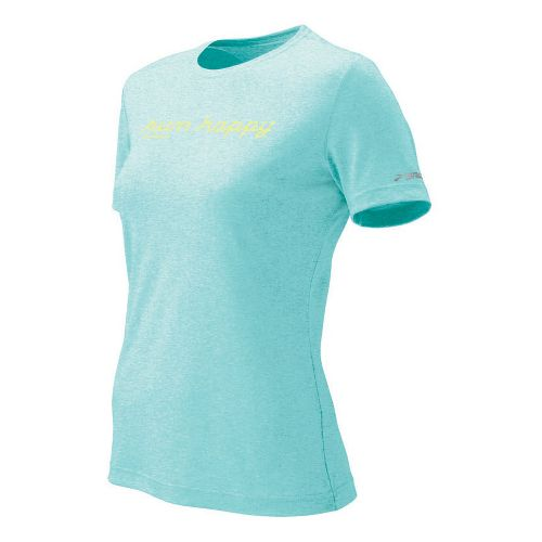 Womens Brooks EZ T Run Happy Short Sleeve Technical Tops - Tropic L