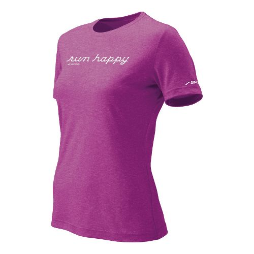 Womens Brooks EZ T Run Happy Short Sleeve Technical Tops - Viola XS