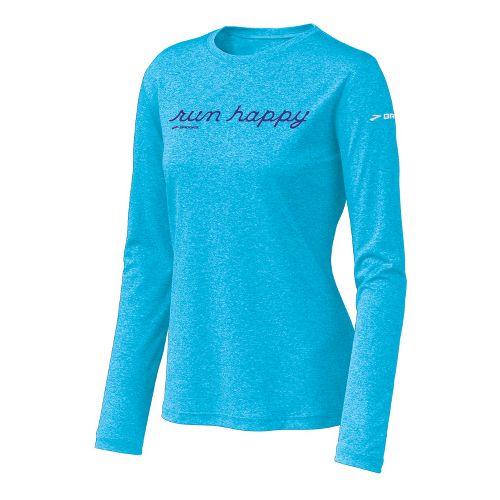 Womens Brooks EZ T Run Happy Long Sleeve No Zip Technical Tops - Aquarius M ...