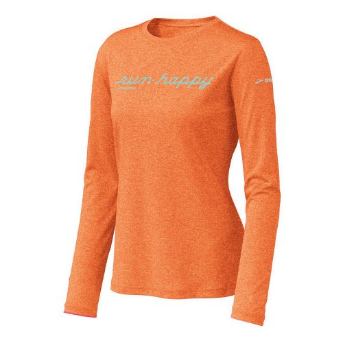 Womens Brooks EZ T Run Happy Long Sleeve No Zip Technical Tops - Caribe S ...