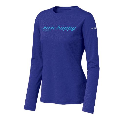Womens Brooks EZ T Run Happy Long Sleeve No Zip Technical Tops - Cobalt L ...