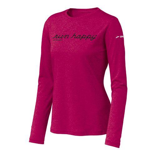 Womens Brooks EZ T Run Happy Long Sleeve No Zip Technical Tops - Cerise XS ...
