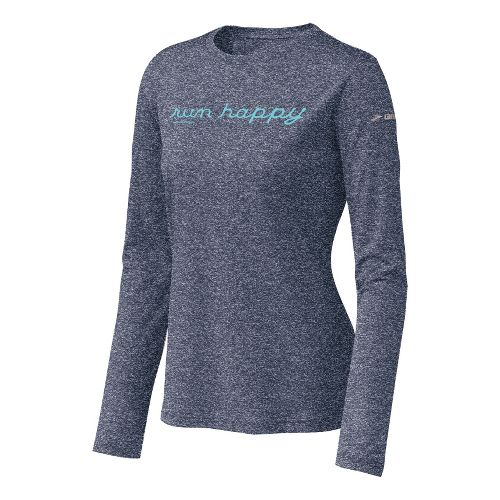 Womens Brooks EZ T Run Happy Long Sleeve No Zip Technical Tops - Midnight L ...