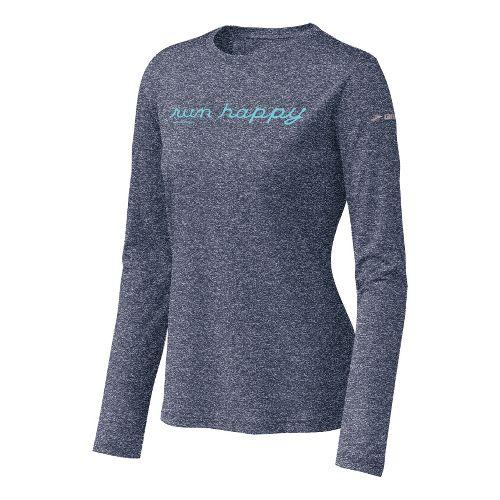 Womens Brooks EZ T Run Happy Long Sleeve No Zip Technical Tops - Midnight M ...