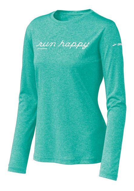 Womens Brooks EZ T Run Happy Long Sleeve No Zip Technical Tops